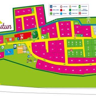 Plan 2021 du camping d'Autun au plein coeur des Pyrénées